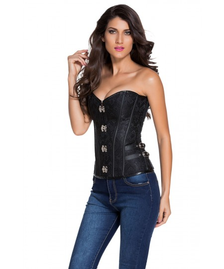 14 Steel Bones Buckle Sides Lace up Overbust Sexy Corset Boobs