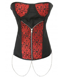 Womens Patterned Jacquard Zipper Front Bustier Corset Top