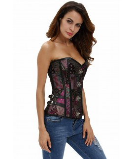 Spiral Steel Boned Steampunk Gothic Bustier Leather Trim Lace Up Brocade Corset