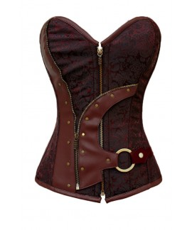 Sexy Brown Brocade Steampunk Corset