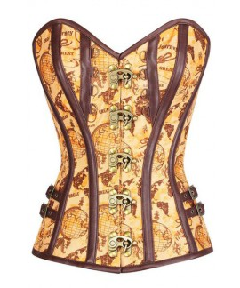 Steampunk Gothic Brocade Steel Boned Bustier Tan Satin Globe Print Overbust Corset