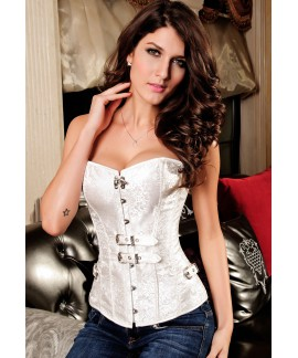Womens Luxurious Pteris Jacquard Body Shaper Corset White