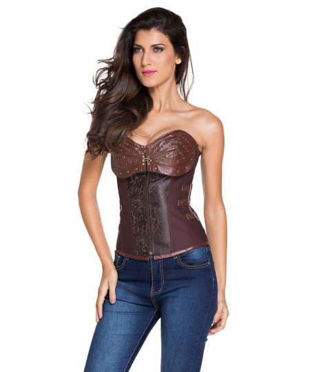 Brown 12 Steel Bones Steampunk Corset Body Shaper Corset for Weight Loss