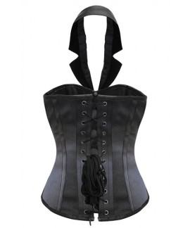 Satin Leather Steampunk Corset with collar Waist Cincher Bustier Lingerie
