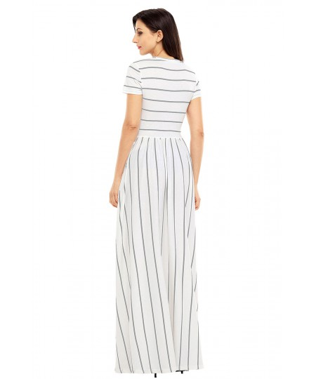 Striped Crew Neck Loose Short Sleeve Long Summer Maxi Dresses for Women