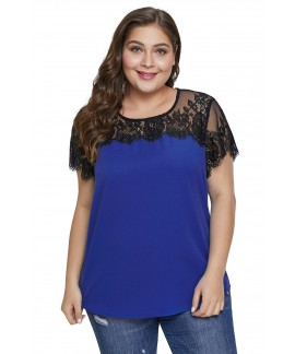 Summer Lace Yoke Plus Size Short Sleeve Top for Women