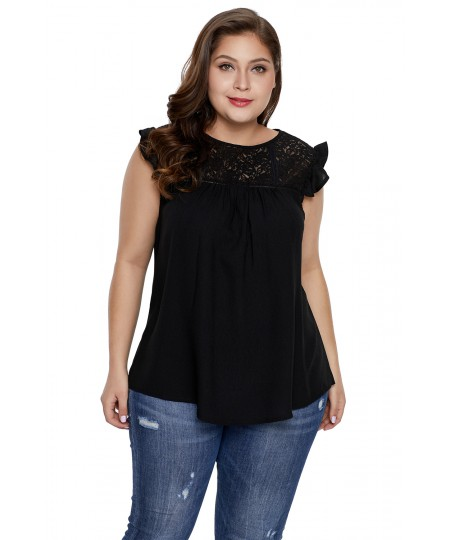 Plus Size Lace Yoke Gauze Knit Sleeveless Top for Women
