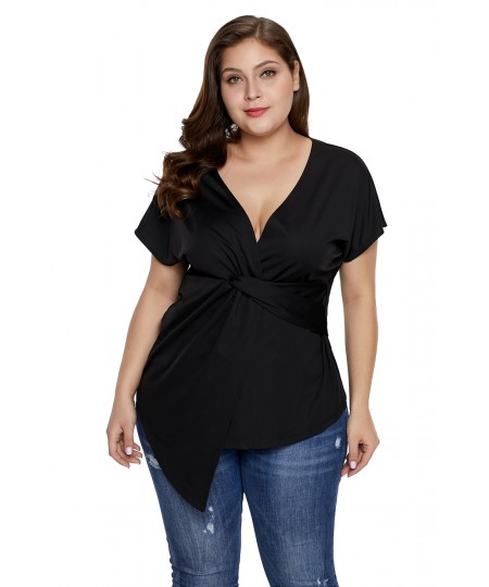 Women Short Sleeve Plus Size Twist Front Summer Top