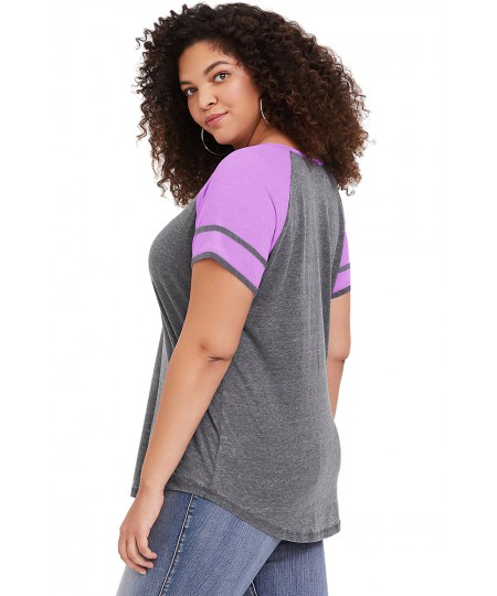 Summer Raglan Short Sleeve Plus Size Tee for Women