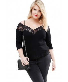 Plus Off Shoulder V Lace Neckline Spliced Curve 3/4 Sleeve Top