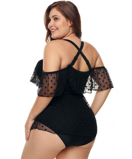 Black Plus Size Off Shoulder Mesh Sheer One Piece Swimsuit