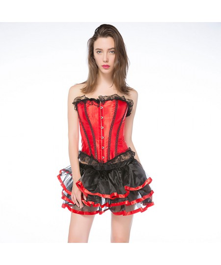 Lace-edged figure-shaping suit red overbust corset dress