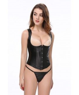 Black leather spiral steel waist sealant waist training corset