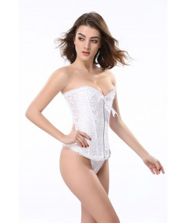 Zipper lace slim body shaper overbust corset for weight loss
