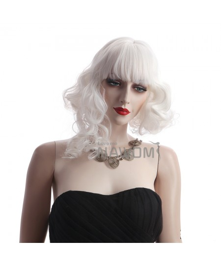Medium long bangs womens wavy wig