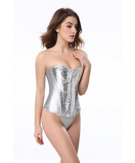 Women Silver leather sequins zipper body shaper overbust corset