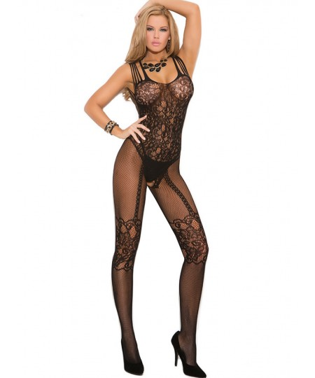 Strappy Shoulders Hollow Out Floral Motif Mesh Body Stockings