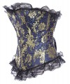 Blue Vintage Palace Lace embroidery Body Shaper Steel Boned Overbust Corset