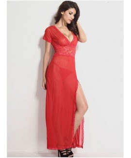 Plus Size Mesh and Lace V Neck Lingerie Gown Nightdress