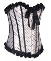 Women Vintage Palace Body Shaper Steel Boned Lace dots Overbust Corset