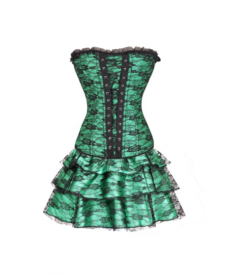 Women's Vintage Bustier Waist Cincher Bodyshaper Overbust Green Corset Dress