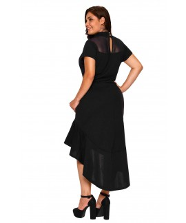 Black Mesh Insert Ruffled Hi-low Hem Curvy Plus Dress