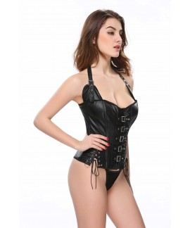 Women Punk Gothic Faux Leather Buckle Waist Cincher Overbust Corset Bustier