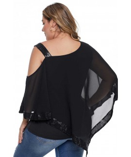 Black Asymmetric Cold Shoulder Plus Size Blouse