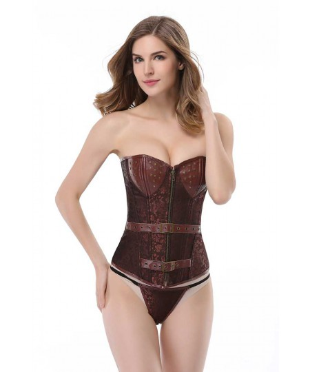 Brown gothic faux leather waist trainer overbust steel boned Corset