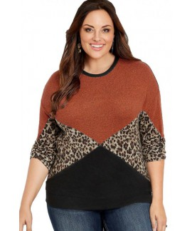 Plus Size Animal Print Splice Long Sleeve Pullover Sweatshirt