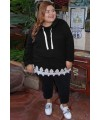 Plus Size Supersoft Hoodie Sweatshirt With Lace Trim