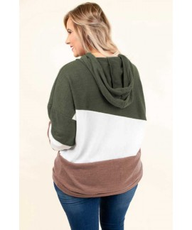 Lucky Break Color Block Plus Size Hoodie Tops