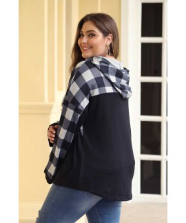Plaid Patchwork Plus Size Hoodie Tops