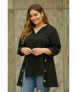 V Neck Tab Roll up Sleeve Slits Plus Size Top