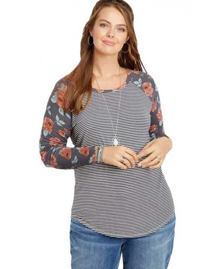 Plus Size Floral Sleeves Striped Baseball Tee