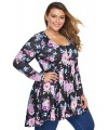Floral Print Pleated Plus Size Tunic Tops