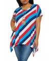 Plus Size Striped Sharkbite Tee