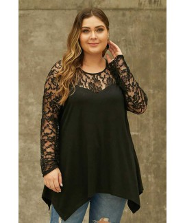 Plus Size Lace Yoke Stitching Asymmetic Hemline Top