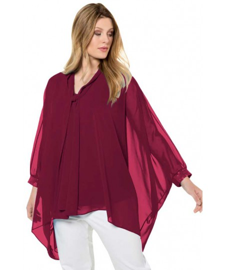 Long Sleeve Chiffon Overlay Plus Size Blouse