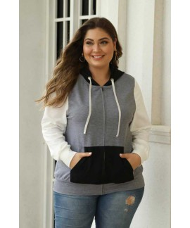 Colorblock Hooded Zip Plus Size Jacket