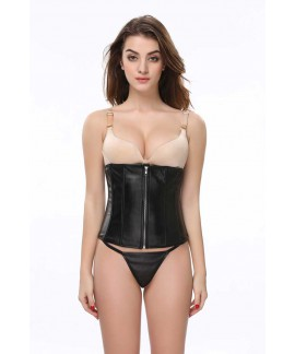 Black leather waist trainer zipper underbust steel boned corset