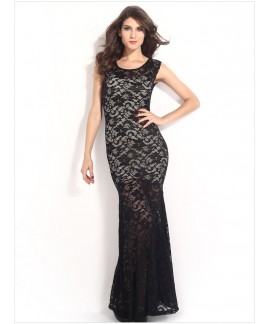 Sexy Lined Long Lace Evening Dress
