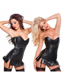Faux Leather Lingerie Gothic Girdle Lace Waist Cincher Overbust