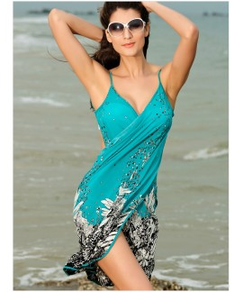 Sexy summer printing beach dress
