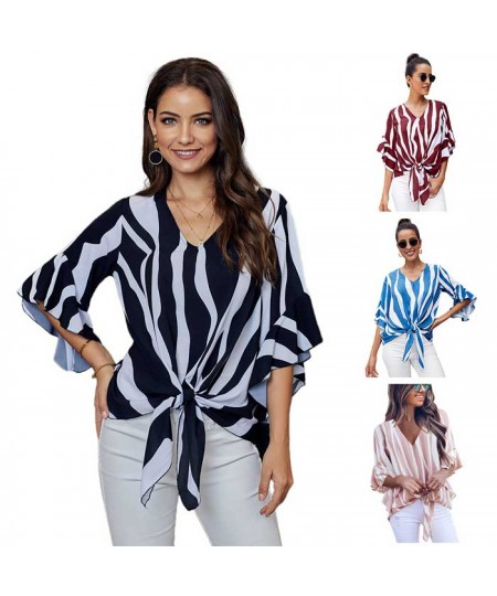 Vertical Stripes V Neck 3/4 Sleeve Blouse Tops
