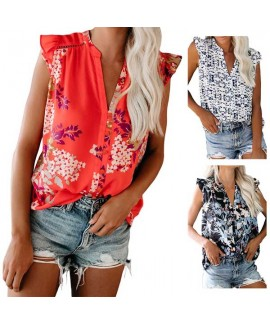 Ruffled Cap Sleeveless Printed Split Neck Tank Top