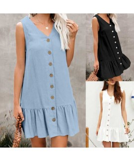 Pocketed Button Down Tank Mini Dress