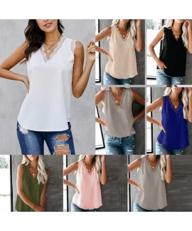 Sleeveless Eyelash Lace V Neck Tank Top