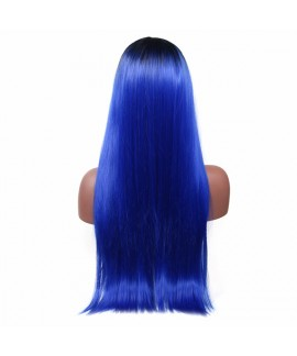 Silky straight long angelica synthetic wig without bangs