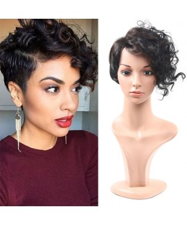 Black fluffy short curly synthetics hair wig